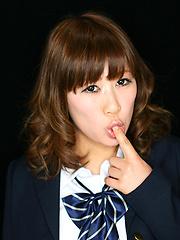 Brown hair Tokyo girl Kimiki Nana deepthroat scene