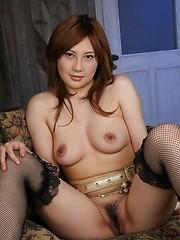Hot Japanese Hiyori Konno hairy pussy spread
