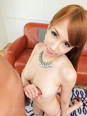 Nami Itoshino with big assets shows pussy and sucks strong penis