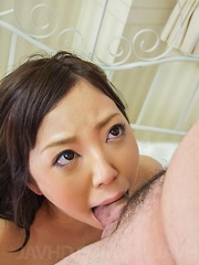 Ayane Okura gets dick deepthroat and then in licked fish taco