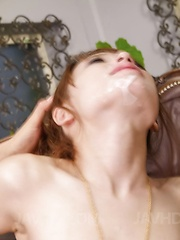Ayaka Fujikita shows tongue with cum after sucking two woodies