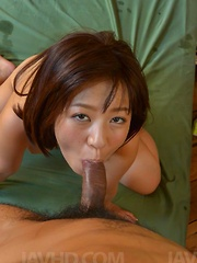 Wakaba Onoue Asian has boobs squeezed and twat eaten and pumped