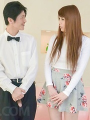 Maki Koizumi caresses her big boobs and fucks with blue vibrator