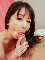 Ayumi Iwasa Asian with naughty bum licks cock and gets it in cunt
