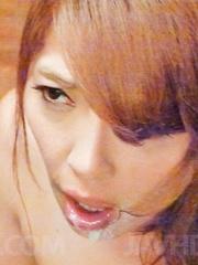 Chieri Matsunaga licks balls and cock till gets cum on mouth