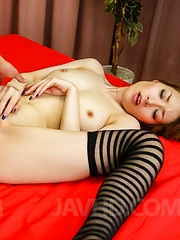 Kou Minefuji in long socks has cunt licked and cans fondled