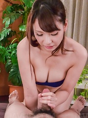 Yui Oba Asian with such juicy cans plays with tool and sucks it