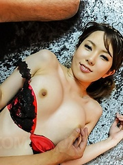Yui Hatano Asian has round boobs touched and hairy snatch fucked