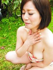 Minami Asano Asian licks and sucks woody in garden till gets cum