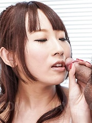 Yui Misaki Asian with hot chest licks two tools and gets cumshot