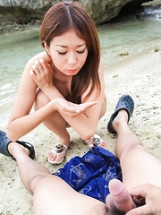 Risa Misaki Asian with fit body sucks dong and gets cum outdoor