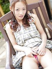 Asian cutie Rei Matoba posing outdoor