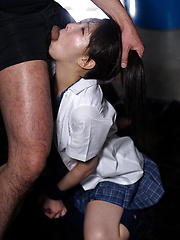 Japanese girl gets hard and deep blowjob