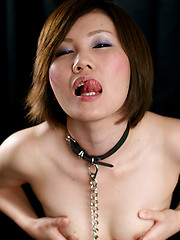Short-haired asian slut takes it deep