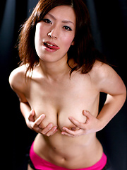 Asian girl in sexy pink stockings in deepthroat scene