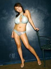 Harada Orei posing in blue bikini