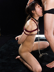 Roped asian whore takes it deep