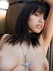 Great asian big tits model Hana Haruna in hot scenario.