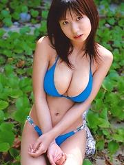 Rio Natsume posing in several bikinis her huge natural tits