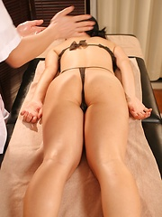 Oiled games with cute japanese woman