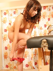 Hairy japanese teen takes off clothes