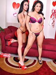 Happy Valentine Pics - Jessica Jaymes and Jessica Bangkok are each others Valentines Day lesbian dates