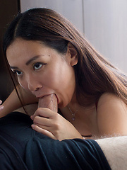 Sexy japanese babe Yukishiro Madoka strokes and sucks