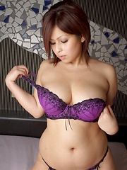 Big titted asian wearing sexy purple lingerie