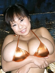 Asian idol Fuko posing in several bikinis