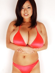 Busty asian Fuko posing her humongous tits in several outfits