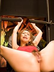 Japanese girl Kaoru Hayami plays with her hairy pussy