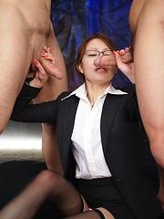 Yuri Aine gets 3 hard cocks