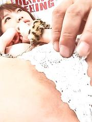 Ibuki Asian chick has clit under vibrator and licks hard phallus