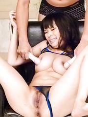 Kyouko Maki Asian has dildos and vibrators fucking her fish taco