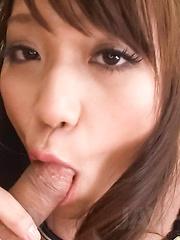 Banana Asada Asian shows cunt while peeing and sucks joystick