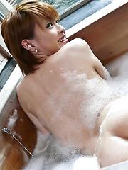 Kaoru Amamiya Asian has hairy slit under shower and licked by man