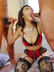 Minako Uchida Asian gets cum in mouth from cocks she sucks well
