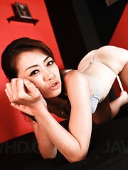 Maki Hojo Asian has labia spread and sex toys stuck inside cunt