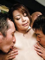 Kinky Maki Hojo takes on a group of horny guys with stiff dicks
