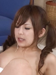 Miku Airi Asian gets vibrators on tits and cunt and cum in mouth