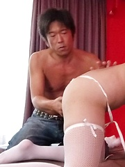 Megumi Haruka with big tits and stockings sucks and rides cocks
