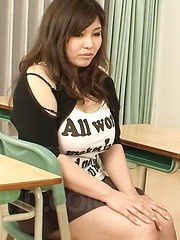 Yume Sazanami with generous assets has pussy expored in classroom