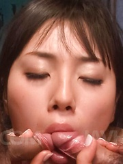 Azusa Nagasawa Asian puts vibrator on clit and licks two tools