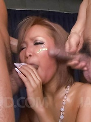 Riku Hinano Asian with long nails gets cum on face from two dongs