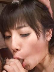 Azusa Nagasawa Asian rides penis and licks it between her assets