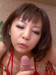 Hikaru Aoyama Asian in red lingerie rubs dick with feet so well