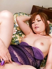 Megu Kamijyou Asian gets cum in mouth and vibrator inside nooky