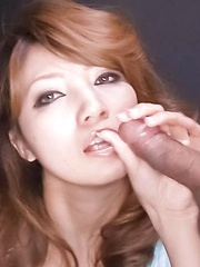 Misaki Aiba Asian gets cum from sucking and rubbing two shlongs