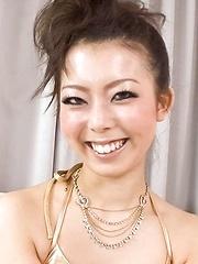 Yuki Asami Asian sucks and rides fake penis she gets as present