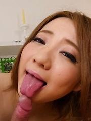 Alice Ozawa Asian rubs cock between boobs after licking the head
